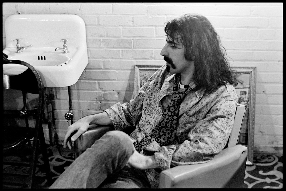 Fall River, Massachusetts - 18 February 1968. Frank Zappa of The Mothers of Invention backstage prior to a performance. © 2020 Ed Lefkowicz<br />