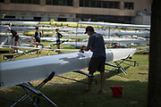 """Lucerne, SWITZERLAND, 12th July 2018, Thursday """"Hudson Boat"""" Technician, polishing and Eight,  FISA World Cup III, Lake Rotsee, © Peter SPURRIER,"""