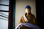 A golden statue representing Buddha is seen at the Yonghe Temple (Chinese 雍和宮, pinyin Yōng hé gōng), also known as the Lama Temple in Beijing, China, August 15, 2014.<br /> <br /> Confucianism, Taoism and Buddhism are the three major religions in China. Temples and statues witness their ancient roots all over the Chinese country.<br /> <br /> © Giorgio Perottino