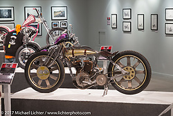 Matt Harris JD Racer in the Old Iron - Young Blood exhibition in the Motorcycles as Art gallery at the Buffalo Chip during the annual Sturgis Black Hills Motorcycle Rally. Sturgis, SD, USA. Wednesday August 9, 2017. Photography ©2017 Michael Lichter.