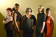 QUEENS, NEW YORK, JULY 23, 2014. The cast of Orange is the New Black is seen on the set at Kaufman-Astoria Studios in Queens, NY. From left are: Kate Mulgrew, Laverne Cox, creator Jenji Kohan, Taylor Schilling and Uzo Aduba. 7/23/2014