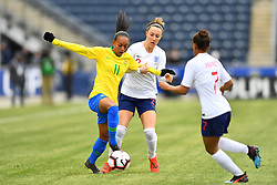 February 27, 2019 - Chester, PA, U.S. - CHESTER, PA - FEBRUARY 27: Brazil Forward Adriana (11) tackles England Defender Lucy Bronze (2) in the first half during the She Believes Cup game between Brazil and England on February 27, 2019 at Talen Energy Stadium in Chester, PA. (Photo by Kyle Ross/Icon Sportswire) (Credit Image: © Kyle Ross/Icon SMI via ZUMA Press)