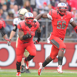 10 November 2012: Rutgers Scarlet Knights defensive end Marvin Booker (56) celebrates after recovering fumble during NCAA college football action between the Rutgers Scarlet Knights and Army Black Knights at High Point Solutions Stadium in Piscataway, N.J.. Rutgers defeated Army 28-7.