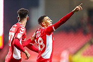 Charlton Athletic forward Karlan Ahearne-Grant (18) celebrates his goal during the EFL Sky Bet League 1 match between Charlton Athletic and Bristol Rovers at The Valley, London, England on 24 November 2018.