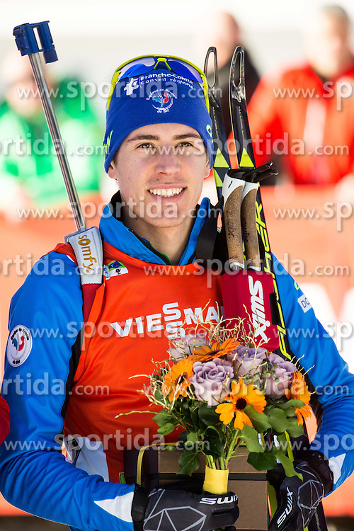 Quentin Fillon Maillet (FRA) at medal ceremony after the Men 12,5 km Pursuit at day 3 of IBU Biathlon World Cup 2015/16 Pokljuka, on December 19, 2015 in Rudno polje, Pokljuka, Slovenia. Photo by Vid Ponikvar / Sportida