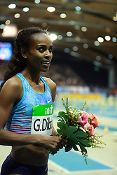 KARLSRUHE, Feb. 4, 2018  Genzebe Dibaba of Ethiopia celebrates after winning Women's 1500m final of the 2018 IAAF World Indoor Tour in Karlsruhe, Germany, on Feb. 3, 2018. Genzebe Dibaba claimed the title with 3:57.45. (Credit Image: © Luo Huanhuan/Xinhua via ZUMA Wire)