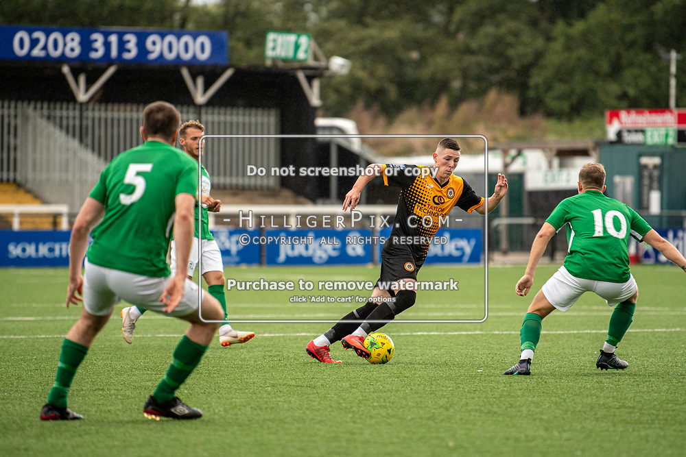 BROMLEY, UK - SEPTEMBER 22: Lee Lewis, of Cray Wanderers FC, looks to take on Marcus Hall, of Soham Town Rangers, during the Emirates FA Cup Second Round Qualifier match between Cray Wanderers and Soham Town Rangers at Hayes Lane on September 22, 2019 in Bromley, UK. <br /> (Photo: Jon Hilliger)