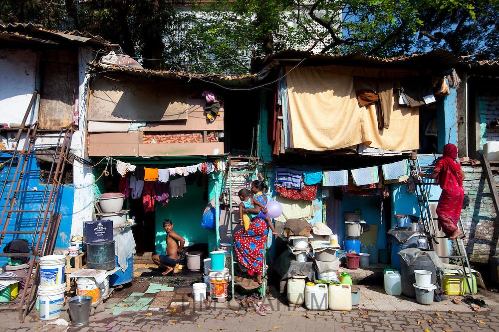 Slum housing and slum dwellers in Mahalaxmi area of Mumbai, formerly Bombay, India