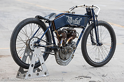 Nancy (from the Sex Pistols' Sid & Nancy), a 1912 Flying Merkel 61 cubic inch, 7-1/4 hp big valve racer built by Billy Lane. Photographed at the New Smyrina Speedway after racing in Sons of Speed. New Smyrna Beach, USA. Saturday, March 9, 2019. Photography ©2019 Michael Lichter.