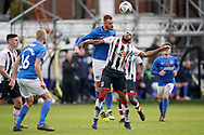Tom Naylor of Portsmouth heads the ball during the The FA Cup 1st round match between Maidenhead United and Portsmouth at York Road, Maidenhead, United Kingdom on 10 November 2018.
