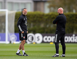 CARDIFF, WALES - Wednesday, September 2, 2020: Wales' manager Ryan Giggs (L) and assistant coach Robert Page during a training session at the Vale Resort ahead of the UEFA Nations League Group Stage League B Group 4 match between Finland and Wales. (Pic by David Rawcliffe/Propaganda)