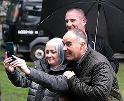 All Under One Banner March, Edinburgh, 5 October 2019<br /> <br /> Pictured: Tommy Sheridan takes selfies with fans<br /> <br /> Alex Todd | Edinburgh Elite media