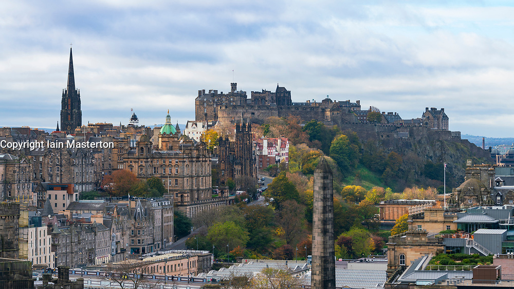 Skyline view of Edinburgh towards the Old Town, The Mound and Edinburgh Castle, Scotland UK.