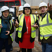 Councillor Sue Vincent,Richard Metcalfe,Night Czar, Amy Lamé, visits site of two new music venues on site 4th floor down the basement at the iconic Denmark Street. The project looking round 100-150 millions GBP on 9th December 2016, London,UK. Photo by See Li