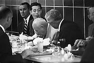 Nikita Khrushchev eating lunch, not very gracefully, at IBM's headquarters in San José, California.<br /> This was a self service restaurant which amazed Khrushchev.<br /> <br /> Nikita Khrouchtchev mangeant son  déjeuner, pas très gracieusement , au siège d'IBM à San José , en Californie.<br /> Le restaurant, un self-service, etait d'une grand curiosite pour Khrouchtchev .