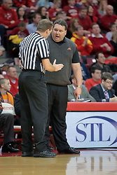 31 December 2008: One official stops to calm Marty Simmons.  Illinois State University Redbirds extended their record to 13-0 with an 80-50 win over the Evansville Purple Aces on Doug Collins Court inside Redbird Arena on the campus of Illinois State University in Normal Illinois