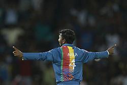March 12, 2018 - Colombo, Sri Lanka - Sri Lankan cricketer Akila Dananjaya  celebrates after taking a wicket  during the 4th Twenty-20 cricket match of NIDAHAS Trophy between Sri Lanka  and India at R Premadasa cricket ground, Colombo, Sri Lanka on Monday 12 March 2018. (Credit Image: © Tharaka Basnayaka/NurPhoto via ZUMA Press)