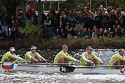 Cambridge. Mass, USA. Championship Men's Eights. Great Eight [Sculling], Passing the Belmont Hill and Windsor Boat House. 2014 Head of the Charles Regatta. Charles River. Boston. 14:16:55  Sunday 19/10/2014  [Mandatory Credit; Peter Spurrier/Intersport-images]<br /> <br /> Crew: Right to Left. 5. Tufte, Olaf. 4, Synek, Ondrej. 3. Braas, Roel, 2. Bahain, Julien, Bow. Graves, John. 2014. HOCR, 50 Years, anniversary