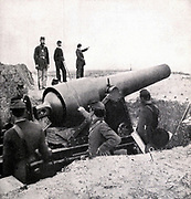 A BIG GUN AT FORT McALLISTER from the book ' The Civil war through the camera ' hundreds of vivid photographs actually taken in Civil war times, sixteen reproductions in color of famous war paintings. The new text history by Henry W. Elson. A. complete illustrated history of the Civil war
