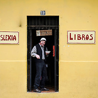 Antigua Guatemala, Guatemala 25 May 2008<br /> Charles, a bookseller, stands at the door of the library Dislexia, in Antigua Guatemala city.<br /> Photo: Ezequiel Scagnetti