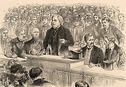 John Bright (1811-1889) English radical statesman, born in Rochdale, Lancashire. Anti-Corn Law League. Reform Act 1867.  Bright speaking at an election meeting at Birmingham.  Engraving from 'The Illustrated London News' (London, 14 November 1885).