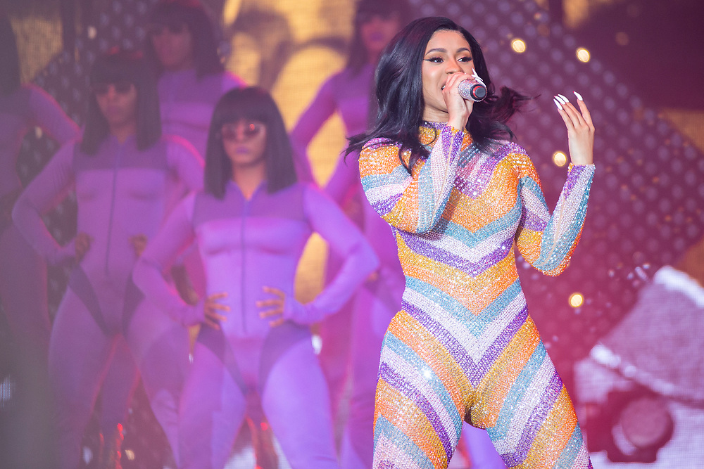 Cardi B performing at Bonnaroo 2019 in Manchester, TN on June 16, 2019.