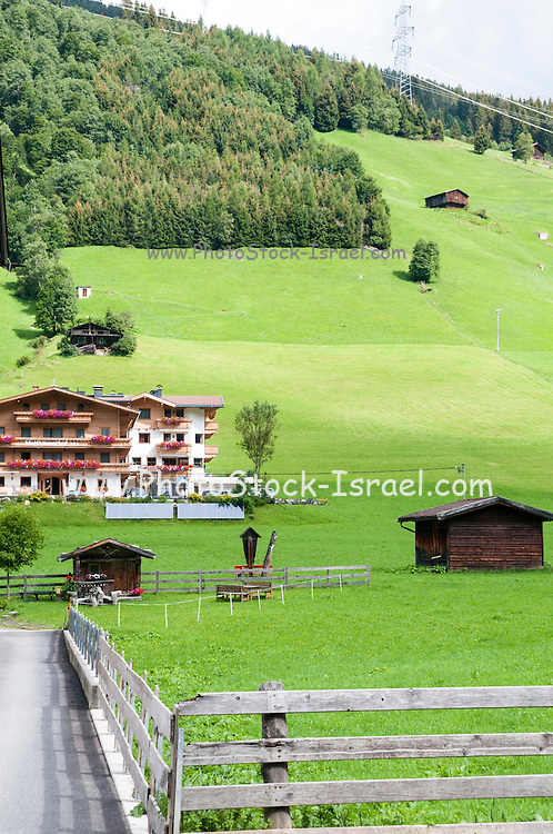 Austria, Tyrol The village of Gerlos Flower decorated house