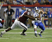 ATLANTA, GA - DECEMBER 31:  Quarterback Anthony Boone #7 of the Duke Blue Devils is sacked by defensive lineman Ivan Robinson #89 of the Texas A&M Aggies during the Chick-fil-A Bowl game at the Georgia Dome on December 31, 2013 in Atlanta, Georgia.  (Photo by Mike Zarrilli/Getty Images)