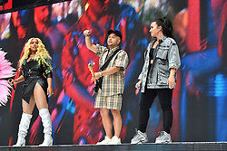 Stefflon Don, Jax Jones and Demi Lovato during Capital's Summertime Ball with Vodafone at Wembley Stadium, London. This summer's hottest artists performed live for 80,000 Capital listeners at Wembley Stadium at the UK's biggest summer party. Performers included Camila Cabello, Shawn Mendes, Rita Ora, Charlie Puth, Jess Glyne, Craig David, Anne-Marie, Rudimental, Sean Paul, Clean Bandit, James Arthur, Sigala, Years & Years, Jax Jones, Raye, Jonas Blue, Mabel, Stefflon Don, Yungen and G-Eazy