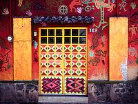 Brightly coloured decorated doorway, Ajijiic Mexico