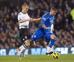 02.02.2011, Craven Cottage, London, ENG, PL, Fulham FC vs Newcastle United, im Bild Newcastle United's Leon Best slides past Fulham's Steve Sidwell //  during the Premiership match against Fulham FC vs Newcastle United at Graven Cottage, EXPA Pictures © 2011, PhotoCredit: EXPA/ IPS/ M. Greenwood *** ATTENTION *** UK AND FRANCE OUT!