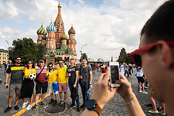 July 13, 2018 - Moscow, Russia - 180713 Fans of Brazil in front of The Saint Basil's Cathedral at the Red Square during the FIFA World Cup on July 13, 2018 in Moscow..Photo: Petter Arvidson / BILDBYRN / kod PA / 92086 (Credit Image: © Petter Arvidson/Bildbyran via ZUMA Press)