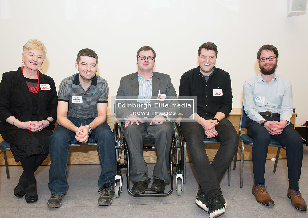 """A short film about the challenges faced by disabled people when trying to access public transport will screen as part of film showings at Edinburgh cinemas during Disabled Access Day this weekend (10-12 March). <br /> The short film has been launched by Edinburgh based charity get2gether, who work with almost 500 disabled adults in Edinburgh and the Lothians by organising social events and encouraging members to take initiative. <br /> The film, """"Buggy Off"""", was created by get2gether Member and Ambassador Karen Sutherland with the support of Media Education and is based on one of Karen's many personal experiences. The film was launched at the Grassmarket Community Project in Edinburgh on Wednesday 8 March before screening ahead of films at the Cameo and Filmhouse over the weekend. Pictured: Panel for post-film discussion Marion Smith, CEO, get2gether, Alasdair McLean, get2gether Board member, Ryan Johnston acting on behalf of his partner and film-maker Karen Sutherland (Karen was rushed into hospital the night before the screening), Shaun Glowa, Media Education, who worked with Karen on making the film, Charlie Fairley, Big Lottery Fund, one of get2gether's main funders.<br /> <br /> <br /> © Jon Davey/ EEm"""