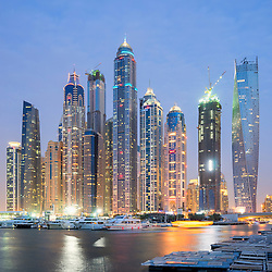 Evening skyline of skyscrapers at Marina District in Dubai  United Arab Emirates