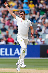 Australia's Mitchell Starc takes the catch to dismiss Jonny Bairstow during day three of the Ashes Test match at the Adelaide Oval, Adelaide.