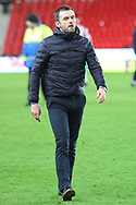 Stoke City manager Nathan Jones after the game during the The FA Cup 3rd round replay match between Stoke City and Shrewsbury Town at the Bet365 Stadium, Stoke-on-Trent, England on 15 January 2019.
