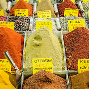A range of spices available for sale at the famous Spice Bazaar (also known as the Egyption Bazaar) in Istanbul, Turkey.