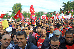 November 22, 2018 - Bardo, Tunisia - Thousands of UGTT supporters flock to the planned rally at 11:00 am in front of the Assembly of People's Representatives (ARP), while an impressive security deployment was present in Bardo Square, according to UGTT sources the strike participation rate currently exceeds 90% in central, regional and local ministries and departments across the country. (Credit Image: © Chokri Mahjoub/ZUMA Wire)