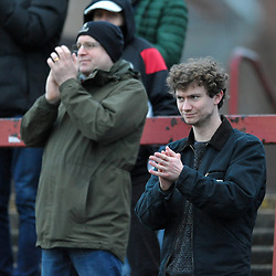 TELFORD COPYRIGHT MIKE SHERIDAN AFC Telford fans during the Vanarama Conference North fixture between AFC Telford United and York City at Bootham Crescent on Saturday, January 11, 2020.<br /> <br /> Picture credit: Mike Sheridan/Ultrapress<br /> <br /> MS201920-040