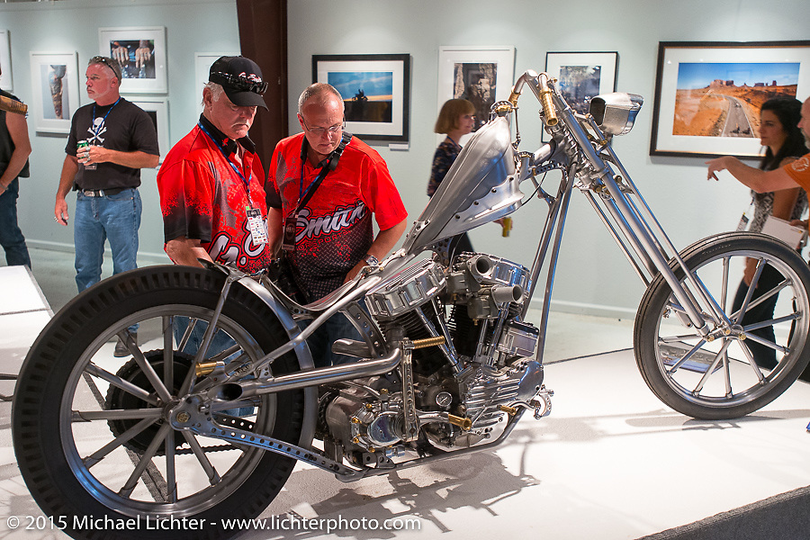 Glen and Gary Smith of the Magnolia Company at the Naked Truth exhibition's industry party at the Buffalo Chip gallery during the 75th Annual Sturgis Black Hills Motorcycle Rally.  SD, USA.  August 5, 2015.  Photography ©2015 Michael Lichter.