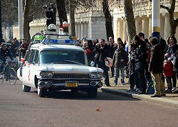 ©London News pictures. 08/03/11. The car from The Ghotsbusters movies. Famous cars from TV and Film drive down the mall in London today (08/03/2011) as part of a publicity stunt for NetCars.com  Picture Credit should read Stephen Simpson/LNP