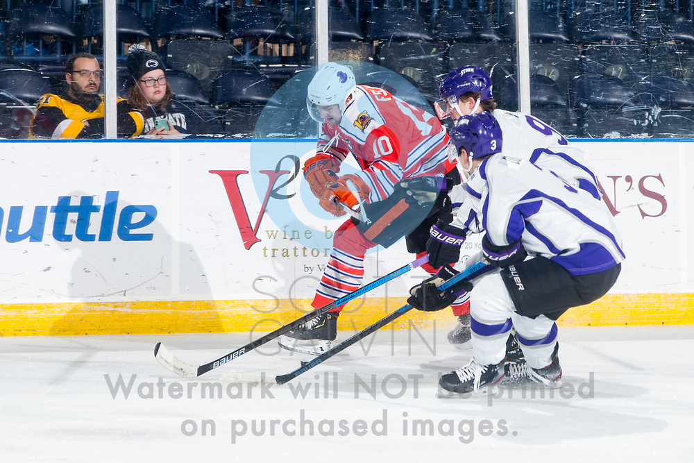 Youngstown Phantoms lose 4-1 to the Tri-City Storm at the Covelli Centre on January 17, 2020.<br /> <br /> Jacob Felker, forward, 10
