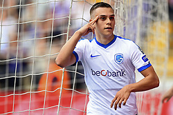 May 20, 2018 - France - Leandro Trossard forward of KRC Genk celebrates after scoring 0-2  during the Jupiler Pro League play off 1 match (Credit Image: © Panoramic via ZUMA Press)
