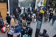On the day that the UK government eased Covid restrictions to allow non-essential businesses such as shops, pubs, bars, gyms and hairdressers to re-open, crowds of shoppers walk on Oxford Street, on 12th April 2021, in London, England.