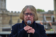 Convenor of the British anti-war organisation Stop the War Coalition Lindsey German speaks at a demonstration opposite Westminster Abbey organised by campaigners from Campaign For Nuclear Disarmament CND and other religious groups as a national service of Thanksgiving to mark fifty years of the Continuous at Sea Deterrent CASD takes place at Westminster Abbey on 3rd May 2019 in London, England, United Kingdom.