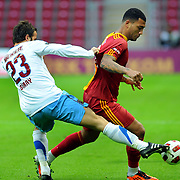 Galatasaray's Colin Kazim RICHARDS (R) during their Turkish superleague soccer derby match Galatasaray between Trabzonspor at the TT Arena in Istanbul Turkey on Sunday, 10 April 2011. Photo by TURKPIX
