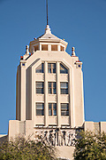 The art deco style Mexpost Post Office building called the Antiguo Palacio Federal along the Plaza Cinco de Mayo in Monterrey, Nuevo Leon, Mexico.