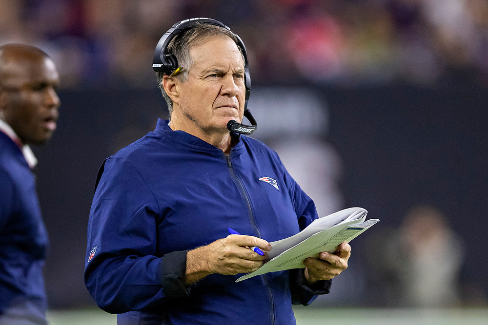 HOUSTON, TX - DECEMBER 1:  Head Coach Bill Belichick of the New England Patriots on the sidelines in the first half of a game against the Houston Texans at NRG Stadium on December 1, 2019 in Houston, Texas.   (Photo by Wesley Hitt/Getty Images) *** Local Caption *** Bill Belichick