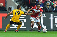 Jonny Otto (19) of Wolverhampton Wanderers tries to stop Niclas Eliasson (19) of Bristol City during the The FA Cup 5th round match between Bristol City and Wolverhampton Wanderers at Ashton Gate, Bristol, England on 17 February 2019.