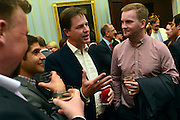 "© Licensed to London News Pictures. 11/09/2012. London, UK Nick Clegg talks to guests. Nick Clegg makes a speech at a reception to celebrate the Government's Consultation on Gay Marriage. Today, 11 September 2012. In the speech he withdrew comments about opponents of gay marriage which in an early draft released to media he called them ""bigots"". Photo credit : Stephen Simpson/LNP"